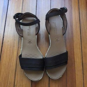 Paul Green Brown Wedge Sandal US Sz 7.5